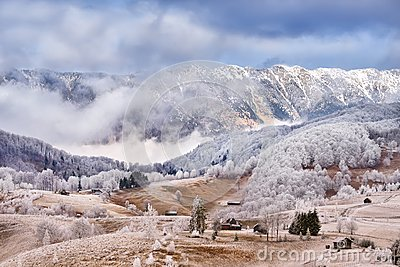 Frost land in the Carpathian Mountain and Transylvania village
