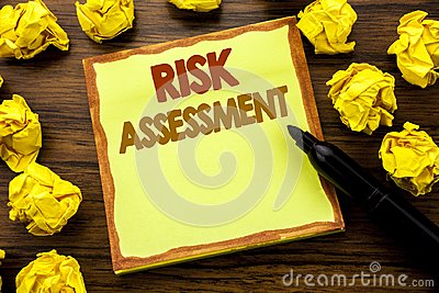 Hand writing text caption showing Risk Assessment. Business concept for Safety Danger Analyze Written on sticky note paper, wooden