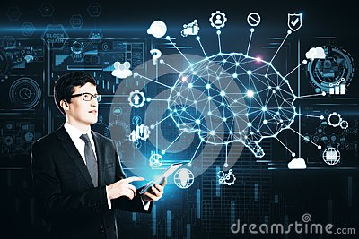 stock image of artificial intelligence and brainstorm concept