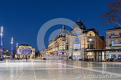 Place de la Comedie square at dusk, Montpellier, France