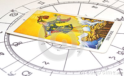 Tarot and astrology. Fool card on a astro chart.