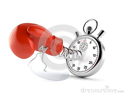Boxing glove with stopwatch