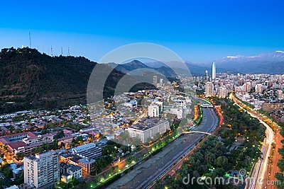Panoramic view of Providencia and Las Condes districts in Santiago de Chile