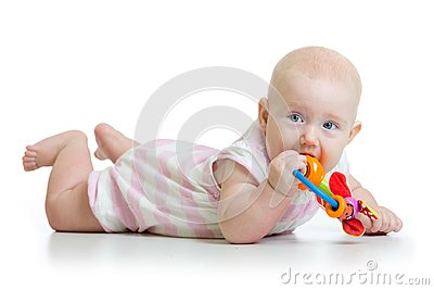 Adorable baby girl teething and chewing teethers