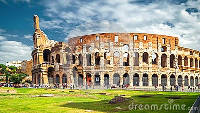 Colosseum or Coliseum in Rome in the sunlight, Italy