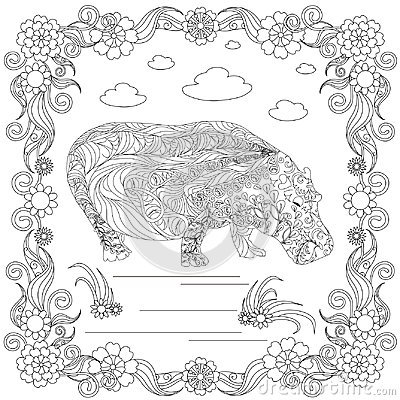 Zen tangle hippo in flower frame monochrome sketch, coloring page antistress stock vector illustration