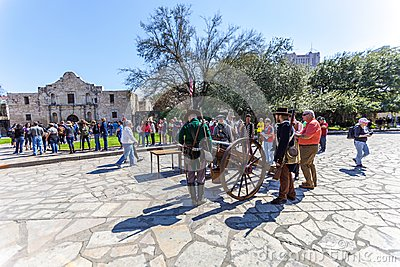 SAN ANTONIO, TEXAS - MARCH 2, 2018 - People gathered to participate in the 182nd commemoration of the Siege and Battle of the Alam