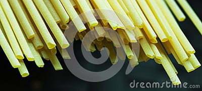Macro Shot of Spaghetti on dark background
