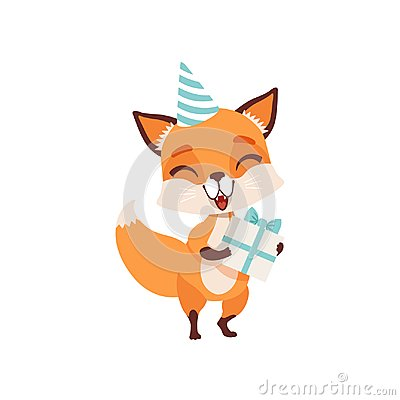 Cute fox character in party hat holding gift box, funny forest animal vector Illustration on a white background