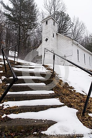 Snow Covered - Abandoned Mt. Zion United Methodist Church - Appalachian Mountains - West Virginia