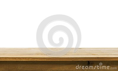 Wood table top on white background.For create product display