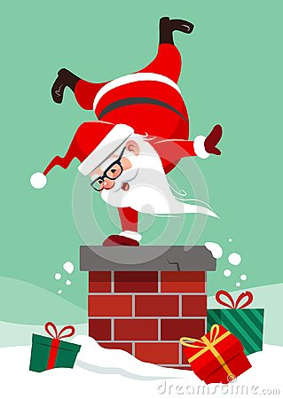 Vector cartoon illustration of Santa Claus on house roof doing h