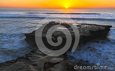 Flat Rock and Pacific Ocean Sunset Torrey Pines State Beach San Diego California