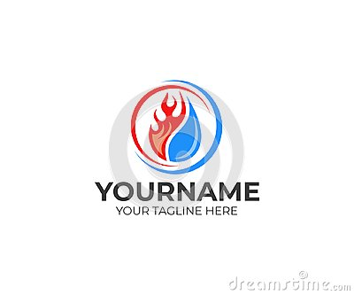 Flame and drop water, cooling and heating logo template. Plumbing, heating, gas supply, air conditioner, service and repair vector