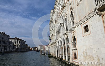 VENICE, Italy - December 31, 2015: Ancient Palace called Ca D Or