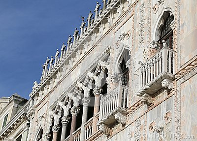 Venice, Italy - December 31, 2015: Detail of a Palace called Ca