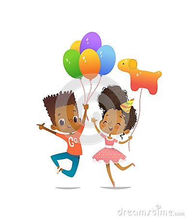 Joyous African-American boy and girl with the balloons and birthday hat happily jumping with their hands up. Vector
