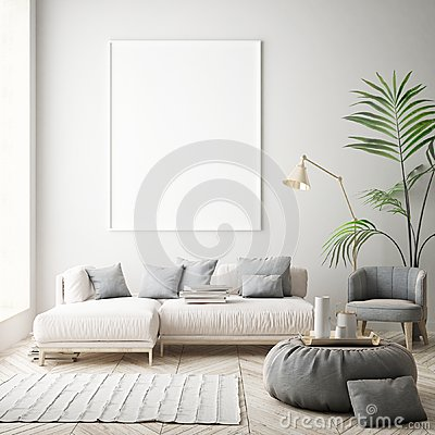 Mock up poster frames in children bedroom, scandinavian style interior background, 3D render