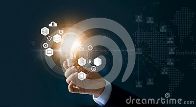 stock image of businessman holding light bulb and new ideas of business with innovative technology network connection. business innovation concep