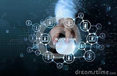 Blockchain technology network concept. Businessman click mouse computer with microcircuit icon cryptocurrency and block chain netw