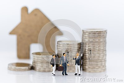 Miniature people: Group business meeting guaranteed loan, third party, guarantor. Image use for business concept