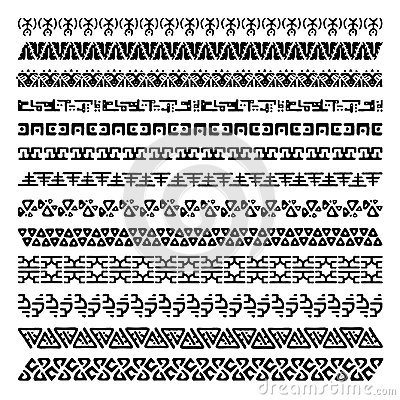 Collection of pattern brushes for frames. Seamless borders in ethnic style. Aztec tribal ornaments.