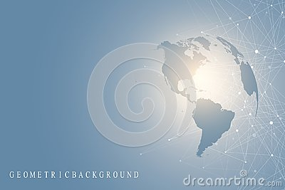 Big data visualization with a world globe. Abstract vector background with dynamic waves. Global network connection