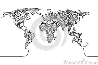 Continuous line drawing of a world map, single line Earth