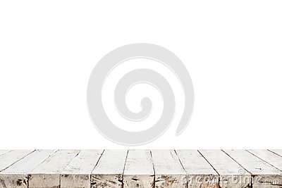 Real white wood table top texture on white background