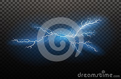 A set of lightning Magic and bright light effects. Vector illustration. Discharge electric current. Charge current