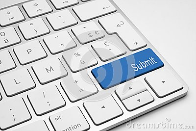 Blue Submit button on keyboard