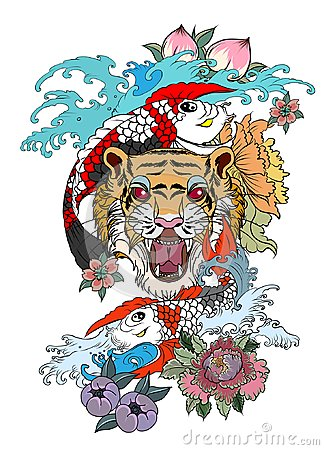 Traditional Japanese Tattoo Design For Back Bodytiger Face With Koi