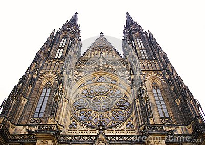 Old gothical cathedral of Saint Vitus in Prague castle historical medieval architecture in European old town
