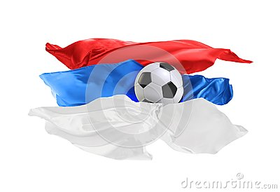 The national flag of Serbia. FIFA World Cup. Russia 2018