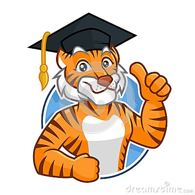 Education Tiger mascot character design
