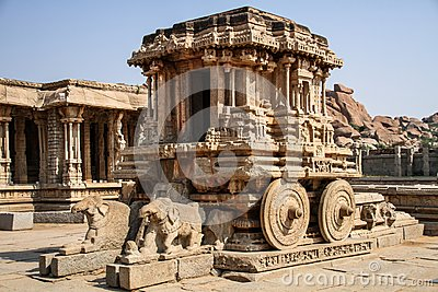 The Garuda shrine in the form of stone chariot at Vitthala temple, Hampi, Karnataka, India