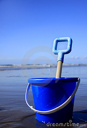 Blue bucket and spade
