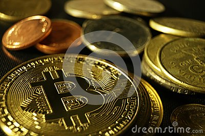 Bitcoin token with different coins background
