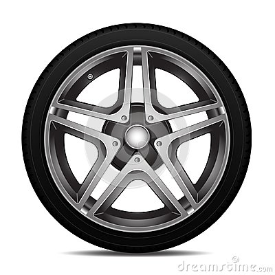 Realistic car wheel alloy with tire sport design on white background vector