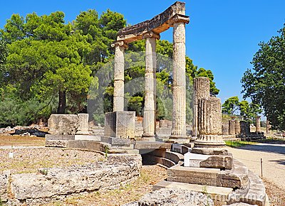 Ruins at the site of ancient Olympia in Greece