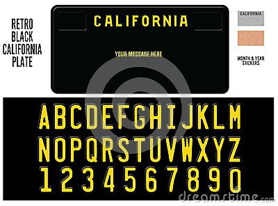California License Plate Black Retro Design