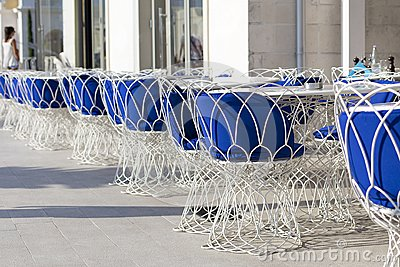 Beautiful tables and chairs, wicker outdoor, restaurant