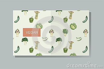 Illustration set of organic vegetable set on pale background