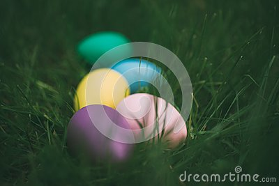 Colorful eggs on fresh springtime grass