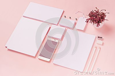White branding stationery, mock up scene on light soft pastel pink background, blank objects for placing your design.