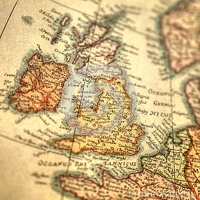 Vintage hand drawn map of Great Britain and Ireland islands