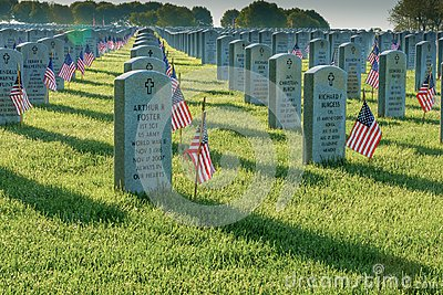Flags adorn the graves of the fallen on Memorial Day at Abraham Lincoln National Cemetery