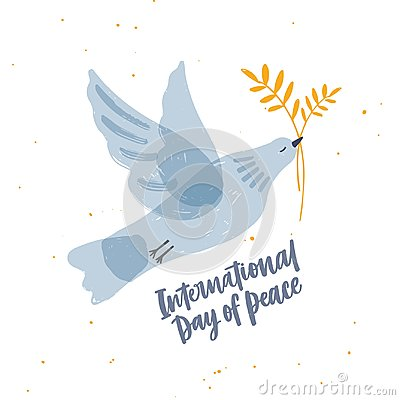 Cute gray translucent dove, pigeon or bird flying and carrying olive branch and International Day of Peace lettering
