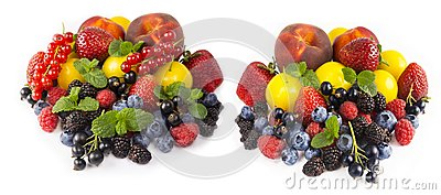 Fruits and berries isolated on white background. Ripe currants, strawberries, blackberries, bluberries, peaches and yellow plums.