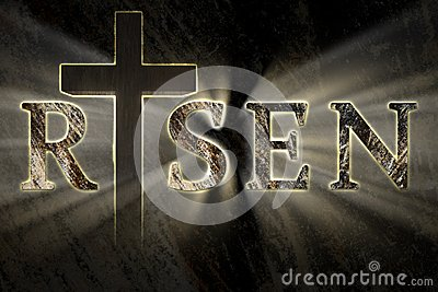 Easter background with Jesus Christ cross and risen text written, engraved, carved on stone